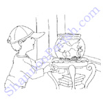 Boy and his fish bowl - coloring page