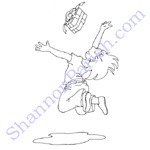Girl jumping for joy over gift - coloring page