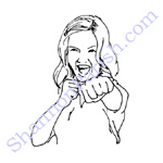 Girl in self defense pose - created for business flyer