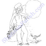 Teen girl feeding the birds - caption open - child's coloring page