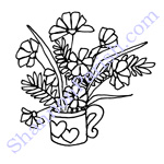 Coffee cup with flowers - book illustration
