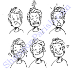 Facial expressions of a boy