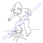 Girl stomping a milk carton - book illustration