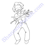 Angry girl popping a belt - book illustration