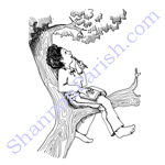 Girl in the tree thinking