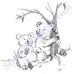 Bears playing - children's book illustration