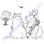 Boy and bears - children's book illustration